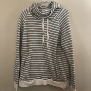 Grey and White striped pullover Old Navy L
